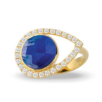 Royal Lapis Halo Ring 18KY