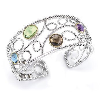 Sterling Silver and 14K Yellow Gold Bangless with Semi-Precious Stone
