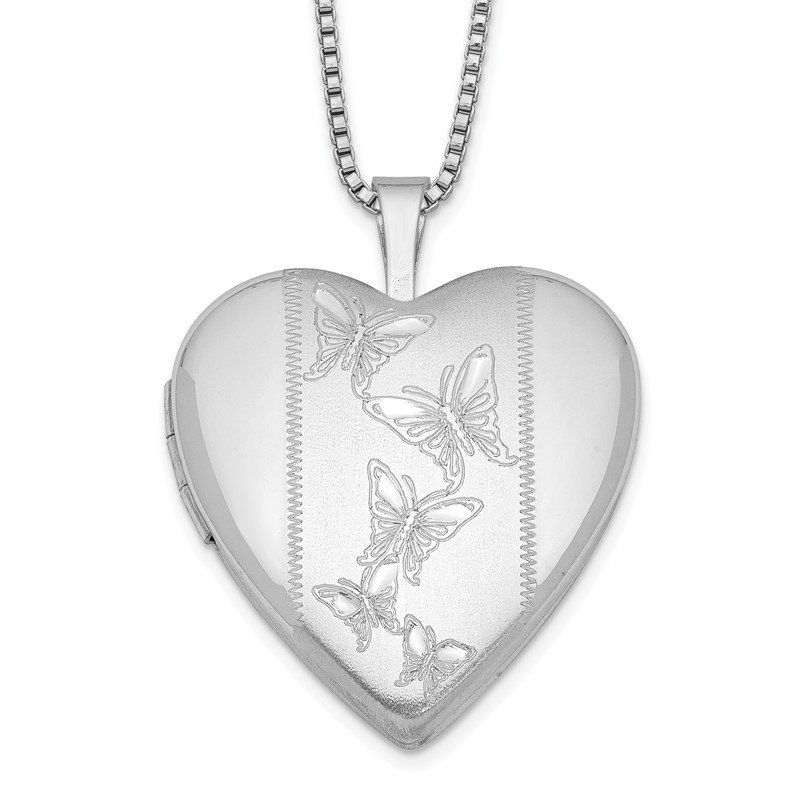 Quality Gold Sterling Silver Rhodium-plated 20mm Butterflies Heart Locket Necklace
