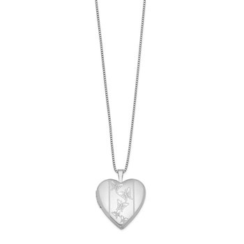 Sterling Silver Rhodium-plated 20mm Butterflies Heart Locket Necklace
