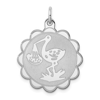 Sterling Silver Rhodium-plated Stork Disc Charm