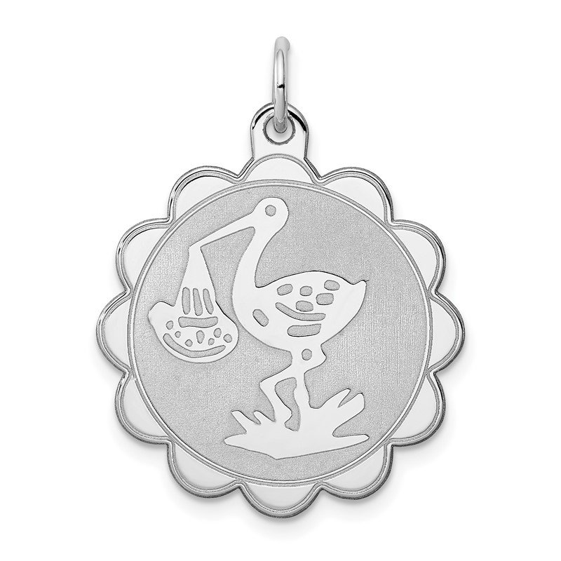 Quality Gold Sterling Silver Rhodium-plated Stork Disc Charm