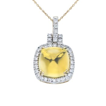 14K Yellow Gold Lemon Quartz Cushion Pendant
