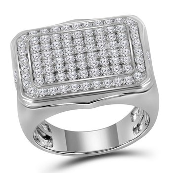 10kt White Gold Mens Round Pave-set Diamond Rectangle Cluster Ring 2-3/4 Cttw
