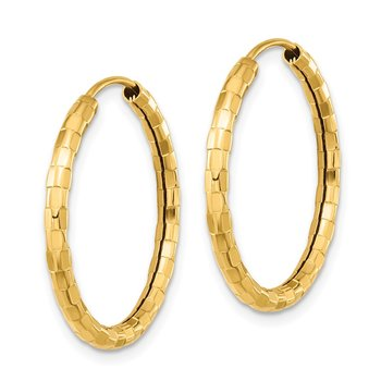 14k Gold Polished Faceted 2.5mm Hoop Earrings