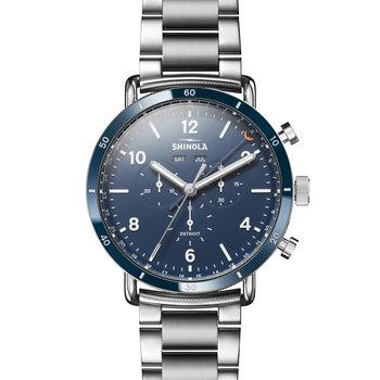 The Canfield Sport 45mm Midnight Blue Dial and Stainless Bracelet Watch