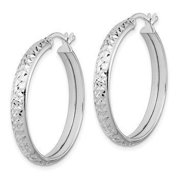 Sterling Silver Rhodium-plated 4x25mm Diamond-cut Hoop Earrings