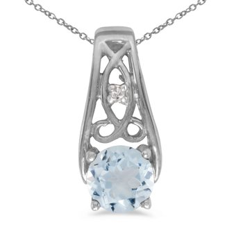 14k White Gold Round Aquamarine And Diamond Pendant
