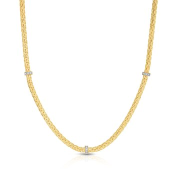 14K Gold Woven Stationed Diamond Necklace
