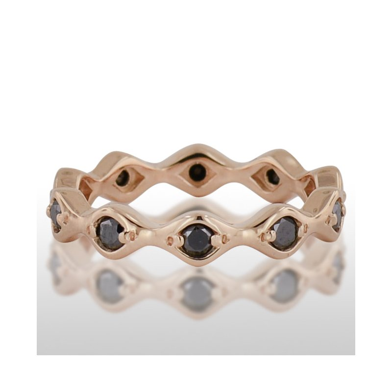 Novell Ladies' Pink Gold Black Diamond Ring
