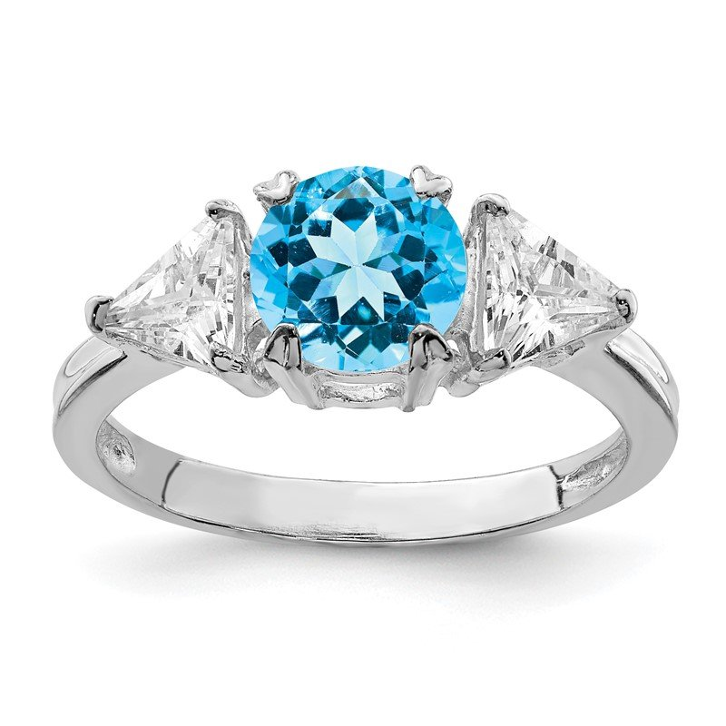 Quality Gold Sterling Silver Rhodium Blue Topaz Ring