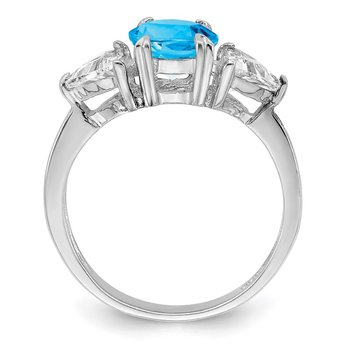 Sterling Silver Rhodium Blue Topaz Ring