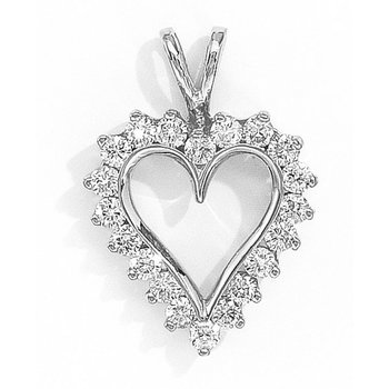 14K White Gold and Diamond Heart Pendant (1.50 carat)