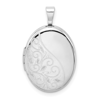 Sterling Silver Rhodium-plated Swirls 19mm Oval Locket