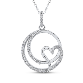 10K White Gold 1/4 ct Round Diamond Heart Fashion Pendant with Chain