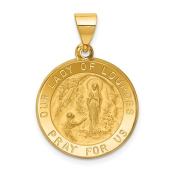 14k Polished and Satin Our Lady of Lourdes Medal Hollow Pendant