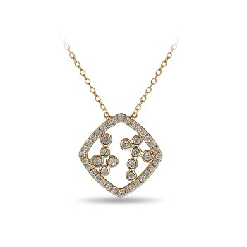 10K YG and diamond Cushion shape necklace with jump ring in split prong and bezel setting