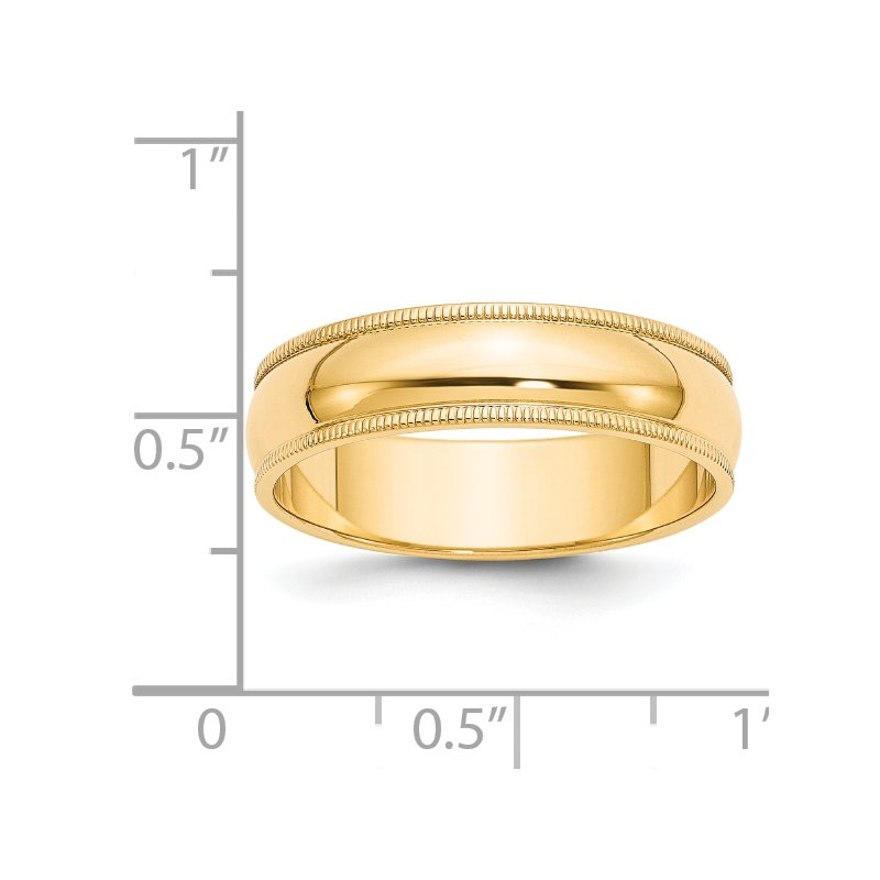 Quality Gold 14k 6mm Milgrain Half-Round Wedding Band