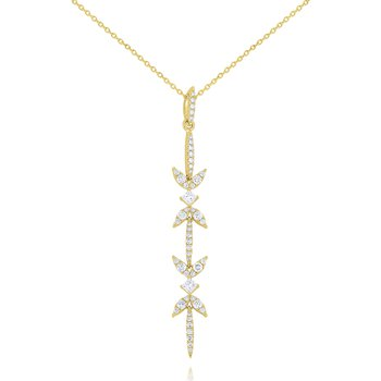 Diamond Miracle Marquise Line Pendant Set in 14 Kt. Gold
