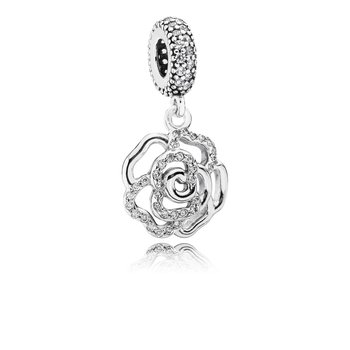Shimmering Rose Dangle Charm, Clear CZ