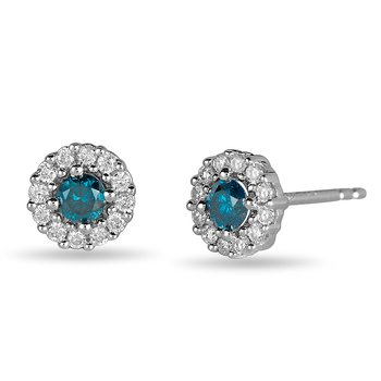 14K WG White & Blue Dia Stud Earring with Center Halo