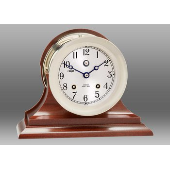 "US Navy 4 1/2"" Ship's Bell Clock Nickel on Traditional Base"