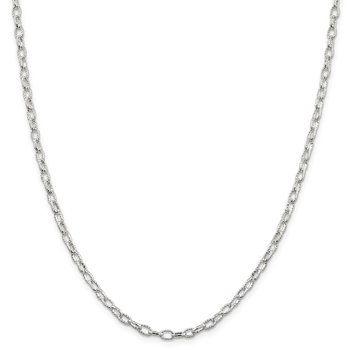 Sterling Silver 3.75mm Fancy Patterned Rolo Chain