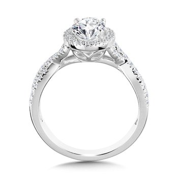 Crisscross Oval Halo Engagement Ring