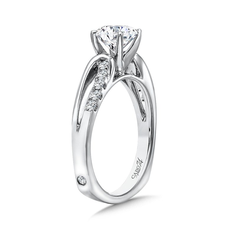 Caro74 Criss Cross Diamond Engagement Ring in 14K White Gold with Platinum Head (1ct. tw.)