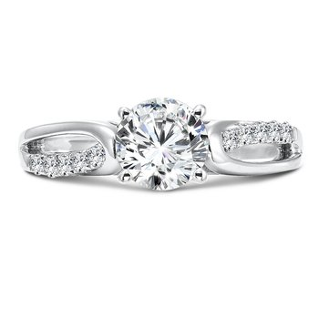 Criss Cross Diamond Engagement Ring in 14K White Gold with Platinum Head (1ct. tw.)