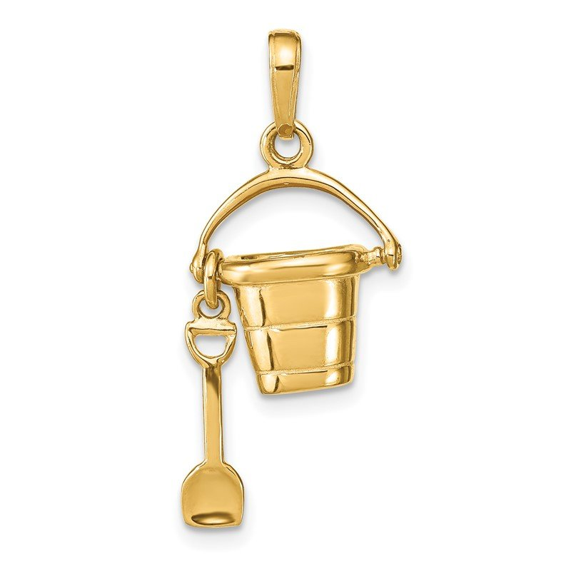 Quality Gold 14K Polished 3-D Moveable Pail and Shovel Pendant