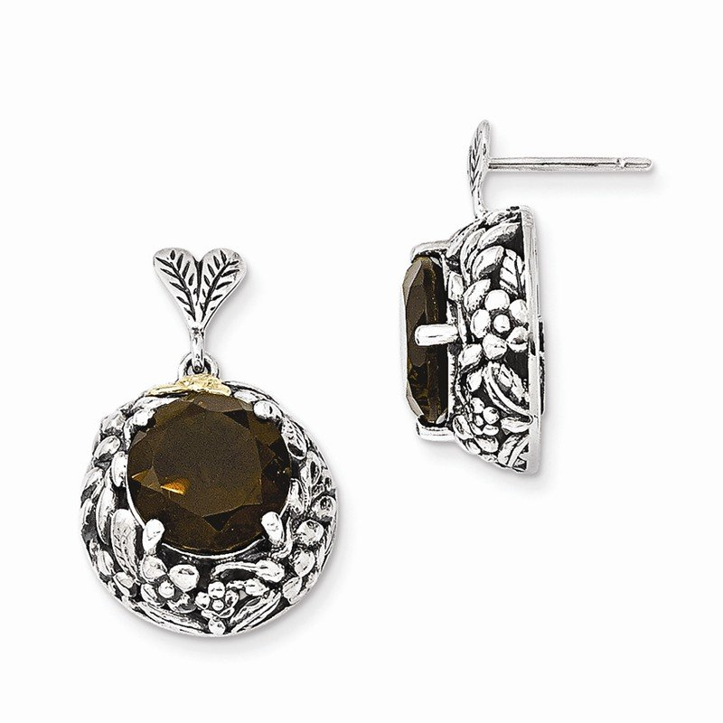 Sterling Silver w/14k Smoky Quartz Post Dangle Earrings
