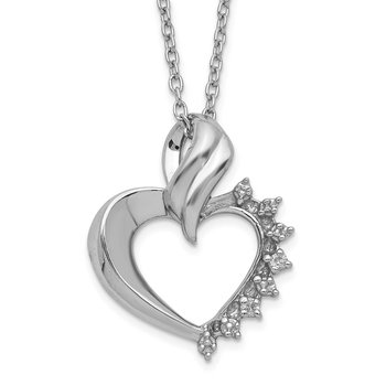 Sterling Silver Rhodium-plated Heart Diamond Necklace