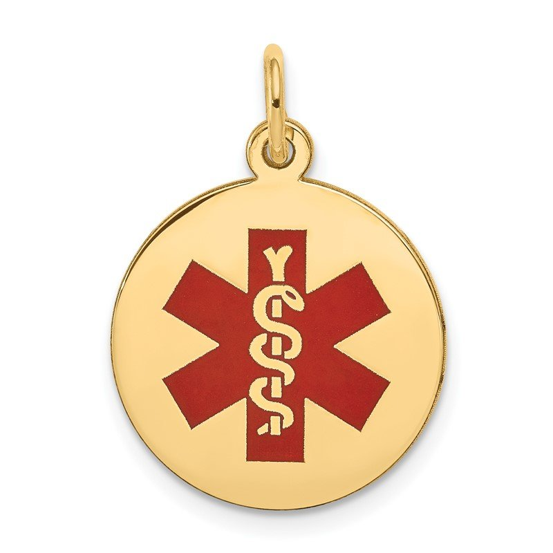 Quality Gold 14k Red Enamel Medical Jewelry Pendant
