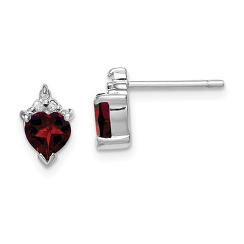 Sterling Silver Rhodium Heart Garnet & Diamond Post Earrings
