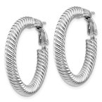 Quality Gold 14k 4x20mm White Gold Twisted Round Omega Back Hoop Earrings