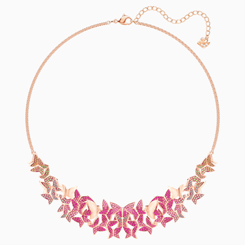 Lilia Necklace, Large, Multi-colored, Rose-gold tone plated