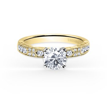 Engraved Diamond Solitare Engagement Ring