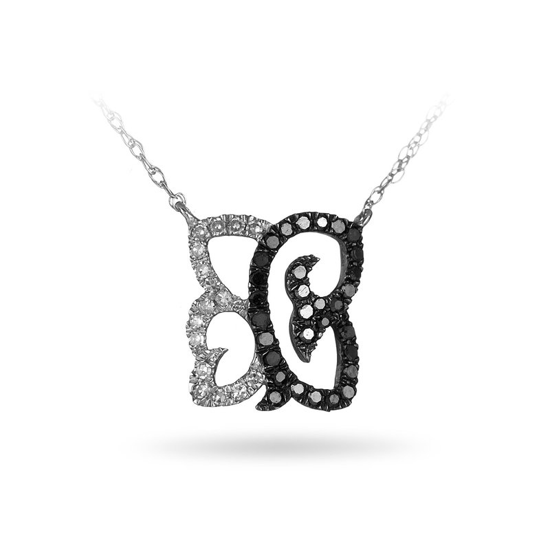 "BB Impex 10K WG B&W Diamond Butterly Necklace 16"" Chain attached"