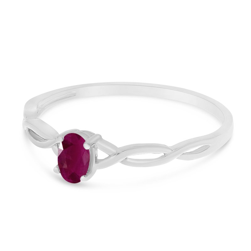 Color Merchants 10k White Gold Oval Ruby Ring