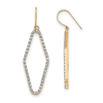 14k Diamond Fascination Shepherd Hook Hoop Earrings