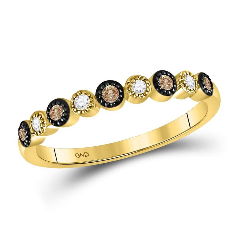 Gold-N-Diamonds, Inc. (Atlanta) 10kt Yellow Gold Womens Round Brown Color Enhanced Diamond Milgrain Dot Band Ring 1/8 Cttw