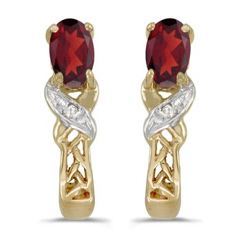 10k Yellow Gold Oval Garnet And Diamond Earrings