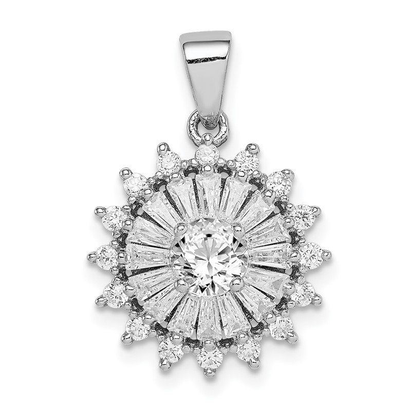Quality Gold Sterling Silver Rhodium-plated Polished CZ Starburst Pendant