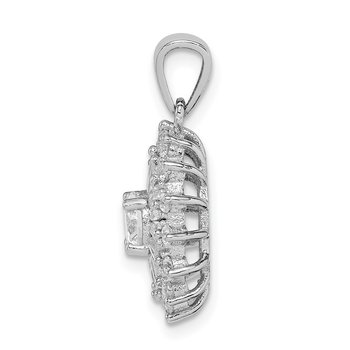 Sterling Silver Rhodium-plated Polished CZ Starburst Pendant