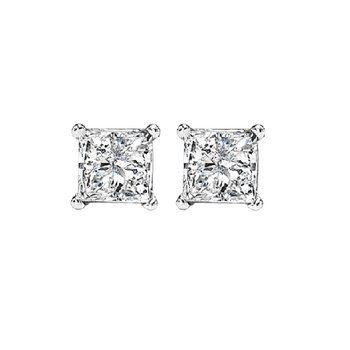 Princess Cut Diamond Studs in 14K White Gold (3/8 ct. tw.) I1 - G/H