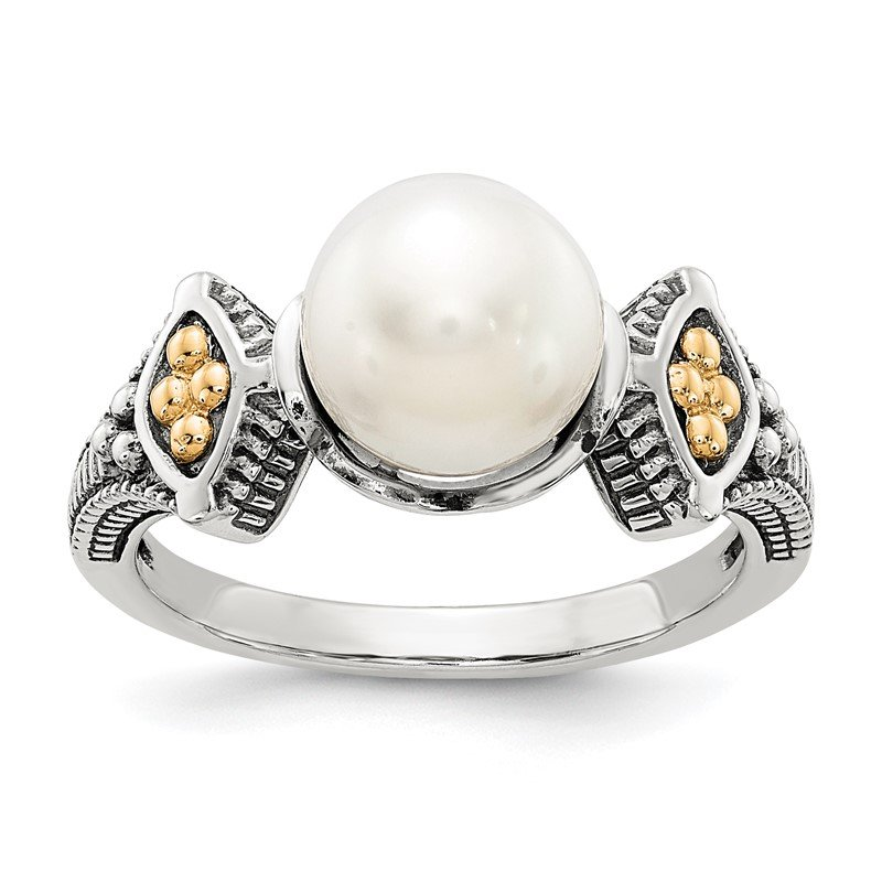 Quality Gold Sterling Silver w/14k 8-8.5mm FW Cultured Pearl Ring