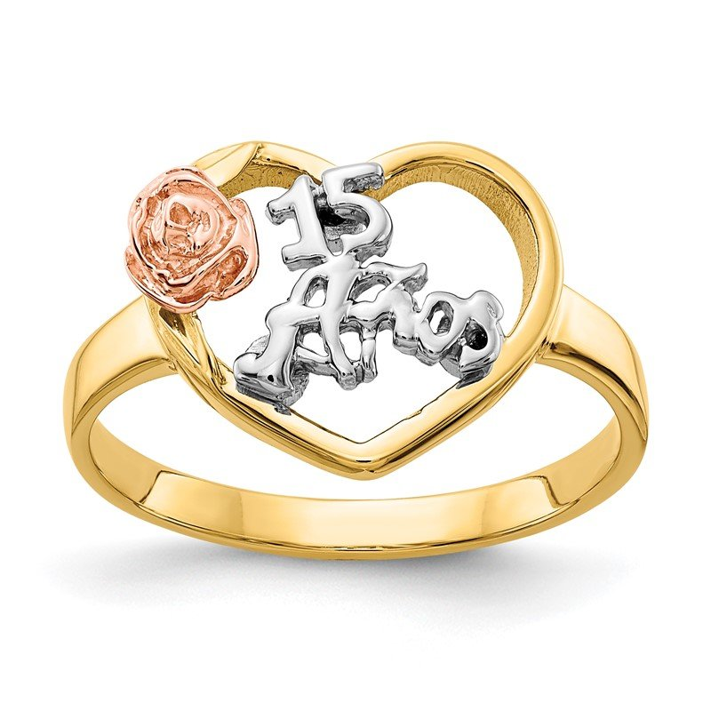 J.F. Kruse Signature Collection 14k Two-tone & Rhodium 15 Anos Ring