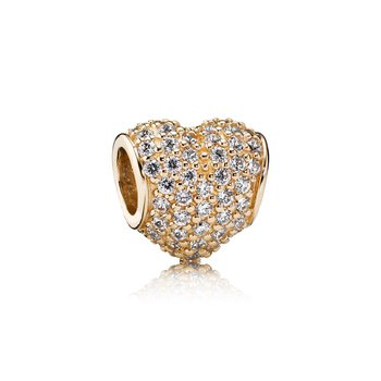 Pavé Heart Charm, Clear CZ & 14K Gold