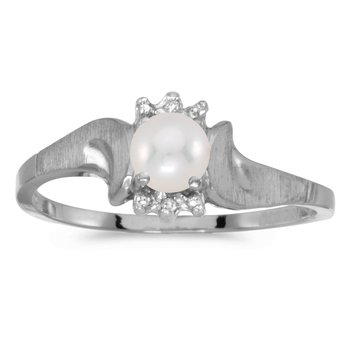 14k White Gold Pearl And Diamond Satin Finish Ring